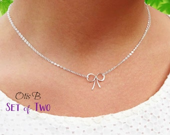 Set of TWO Bow NECKLACES, tiny bow necklace, Bridesmaid gifts, Tie the Knot necklaces for bridesmaids, silver bridal party jewelry