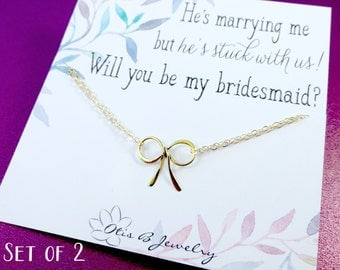 Gold or silver bow bracelets, Bridesmaid gift, Bridal jewelry, Bridesmaid thank you, bracelets for bridesmaid, bridesmaid card