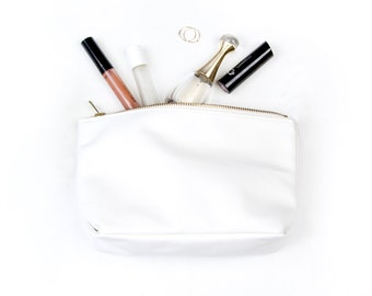 REBECCA White Leather Clutch. Leather Makeup Bag. Leather Pouch. Leather Make up Bag. Leather Cosmetic Bag.