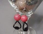 Pink Agate and Onyx Earrings