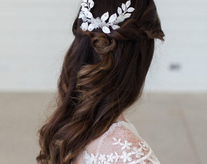 White Wedding Headpiece, Wedding Hair Accessories, Crystal Beaded Headpiece, White Leaves Hair Comb, Bridal Hair Accessories, READY to SHIP