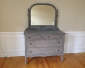 SOLD ** Chic and Shabby Grey Dresser with Mirror
