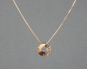 Silver or Gold-Fill Small Hammered Span Necklace on Box Chain | Sequence Collection