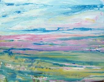 "Abstract Painting Acrylic on Canvas 11"" x 14""  Cape Cod Marsh Original Art  CarlottasArt"