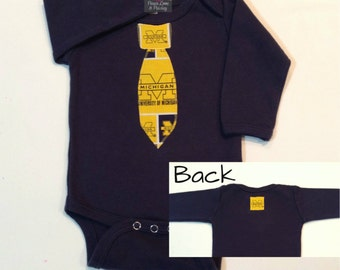 Baby Boy Necktie Bodysuit Made from University of Michigan Fabric, Wolverines Baby, Baby Boy Michigan, Baby Shower Gift, Michigan Baby