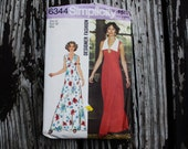 Simplicity Designer Fashion 6344 1970s 70s Maxi Dress Vintage Sewing Pattern Size 14 Bust 36