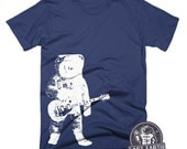 Astronaut Playing Guitar T Shirt Moon Tshirt Vintage Music T Shirt Funny Tee Shirt Gifts For Dads Musicians Fathers Day Gifts Tees