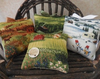 Primitive Pillow Tucks Four Seasons Spring Summer Fall Winter Basket Fillers