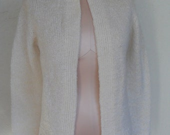 Vintage Sweater Cardigan Ivory Boucle Wool Acrylic by Tanner Size Small