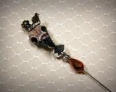 Victorian Hand Painted Hatpin: Upstart Crow