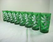 Vintage EMERALD GREEN TUMBLERS White Leaves Glass Set/8 Barware