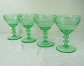 Vintage GREEN DEPRESSION WINE Glasses Set/4 Tiered Semi-Optic Indiana Glass Etched Rim