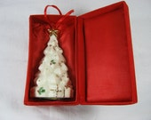 Vintage CHRISTMAS TREE ORNAMENT Ceramic Baum Bros Ivory Gold Collection