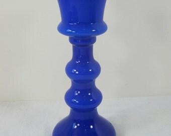 Vintage COBALT BLUE VASE Milkglass Liner Flower Floral Japan