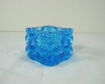 Vintage COBALT VOTIVE CANDLEHOLDER Blue Quilted Glass Candle Holder Salt Cellar