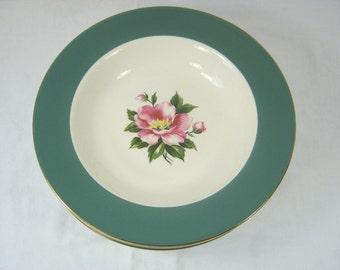 Vintage PEONY SOUP BOWL Set/4 Homer Laughlin Century Service Empire Green Teal