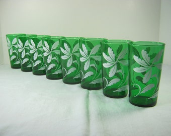 Vintage EMERALD GREEN TUMBLERS White Leaves Glass Set/8 Barware
