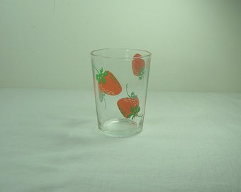 Vintage STRAWBERRY TOOTHPICK HOLDER Glass Votive Candle STRAWBERRiES