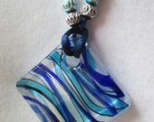 Necklace/Large Diamond Shaped Lampwork Glass Pendant/Blue/Black/White/Teal/Striped/Aluminum Beads/Nylon Cord Necklace