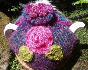Floral tea cosy Hand knitted purple & deep green Teapot Cozy mauve mohair wool knitted together
