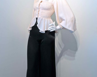 Vintage 1970s BALLOON SLEEVE Cream Crepe Top Blouse Ossie Clark style // Shirred Bodice and Cuffs // Peplum Skirt
