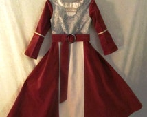 Girl's Lucy Pevensie's Narnia Renaissance Dress With Belt Only, Or Maid Marian: All Cotton & Linen Fabrics, Size 4, Ready To Ship