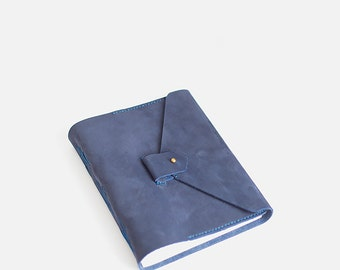 Navy blue Leather journal. Sketchbook - Large, A5, handmade leather notebook with pocket