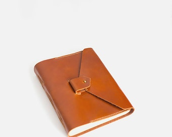 Leather journal. Sketchbook - Brown, Large, A5, handmade leather notebook with pocket