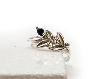 Sterling Silver Olive Branch Ring, Twig Ring, Delicate Everyday Ring, Greek Statement Ring, Silver Olive Goddess Athena Symbol Greek Jewelry