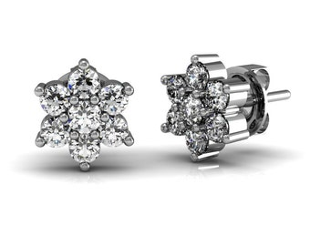 Diamond Blossom Stud Earrings 0.66 ct in White Yellow Rose Gold| made to order for you within 5-7 business days