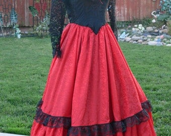 black and red western long dress size 9-10 bust 34