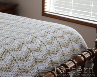 Crochet Blanket PATTERN - Bed Topper (twin, full, queen, & king + multiple) - Chevron Sand Afghan - Printable Download PDF 7250