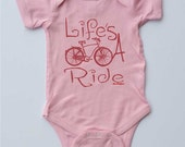 """Pink Baby Onesie-""""Life's A Ride""""-Baby Girl Pink Bicycle onesie-Baby gift for cyclists"""