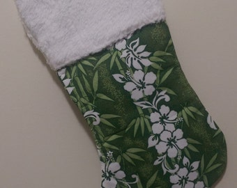 "Green Hibiscus Hawaiian Tropical Fabric Christmas Stocking 19.5"" Aloha Fully Padded and Lined"