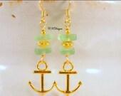 Green Sea Glass Nautical Earrings, Gold Anchor Charms, Beaded Dangle Pierced Earrings. OOAK Handmade Earrings. Nautical Jewelry CKDesigns.US