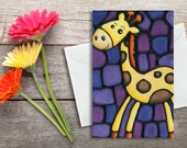 Giraffe Birthday Card - Baby Shower Card - Giraffe on Purple Background - Invitation, Art Card, Holiday Card - by Artist Kathy Lycka