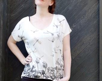 Oversize Tee |  Womens tshirt |  dragonfly top | gold Tshirt |  drape tee