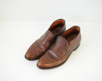 Vintage Florsheim Brown Leather Slip On Boots, Made in USA, Mens 10
