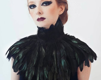 Black Iridescent Feather Couture Mini Capelet