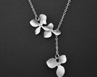 10% OFF, Orchid necklace, Flower necklace, Silver necklace,Lariat necklace,Wedding necklace,Mothers necklace,Anniversary gift,Christmas gift