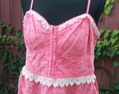 Coral Eyelet Blouse with Blush Pink Lace Trim - Junk Gypsy Altered Clothing - Size XL
