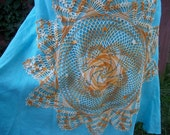 Turquoise Linen Skirt with Vintage Orange Doily - Junk Gypsy Shabby Chic Style - Size 6P
