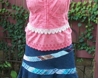 Coral Tank-Eyelet Tank Top with Lace-Gypsy Altered Clothing-Summer Blouse-Size XL