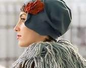 Blue Grey 1920s Hat - Cloche w/ Camellia Brooches in Cashmere Wool - Winter - Karine
