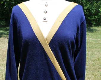 SALE vintage 1980s navy & metallic gold pullover sweater cheerleader marching band 80s buttons Medium/Large