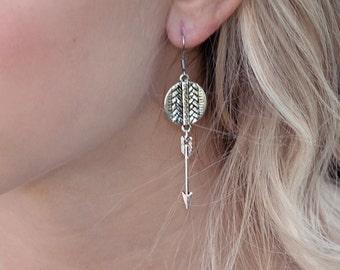 Cute Arrow Earrings, Tribal Jewelry, Geometric Earrings, Gift For Teens, Dangle Earrings, Gifts Under 30, Western Jewelry, Silver Earrings