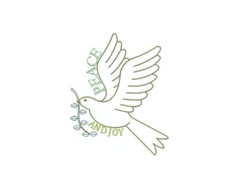 Christmas dove, peace and joy saying. machine embroidery design