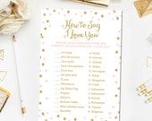 Pink and Gold Bridal Shower Games, How To Say I Love You Bridal Shower Games Glitter Confetti Pink Bridal Shower Game Instant Download BR1