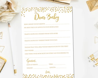 Dear Baby Advice Card, Baby Guessing Shower Game, Baby Shower Game Printable, Gold Baby Shower Games, Instant Download BB6