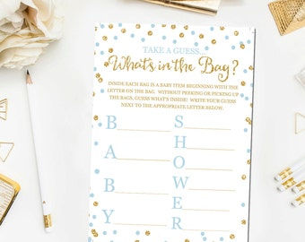 Whatu0027s In The Bag Baby Shower Game, Baby Shower Game Printable, Blue And  Gold